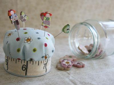 Open blue jar