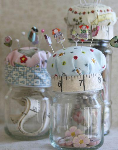 3 pincushion jars