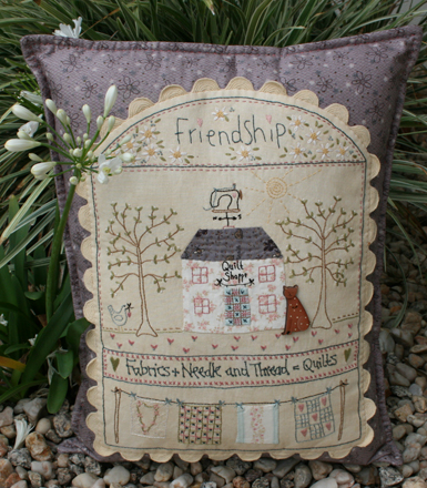 Purple quilt shoppe pillow