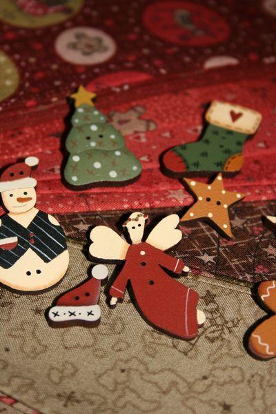 Christmas fun fabrics and buttons