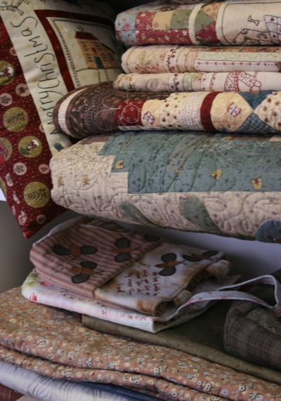 Quilts on shelf